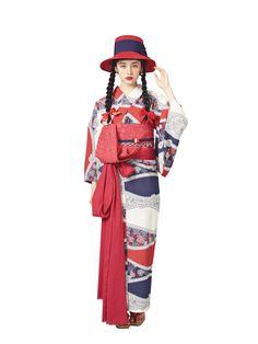The Kimono Gallery: Photo Yukata Kimono, Kimono Outfit, Kimono Fabric, Kimono Fashion, Traditional Kimono, Traditional Fashion, Traditional Dresses, Design Textile, Kimono Design