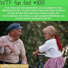 WTF Facts : funny, interesting & weird facts — How to get Irish citizenship Wow Facts, Wtf Fun Facts, Funny Facts, Random Facts, Crazy Facts, Random Things, Wierd Facts, True Facts, The More You Know