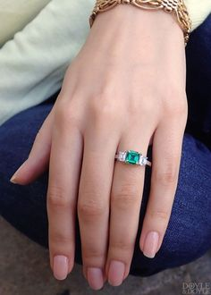 Estate Emerald & Diamond Ring, Stunning estate emerald and diamond ring, fashioned in yellow gold and platinum. Exclusively from Doyle & Doyle in New York. Rose Gold Engagement Ring, Vintage Engagement Rings, Ruby Diamond Rings, Gemstone Rings, York, Yellow, Gold Jewelry, Jewellery Box, Princess Cut