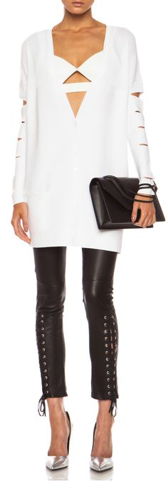 CUSHNIE ET OCHS - Viscose-Blend Knit Cardigan with Cut Outs in White