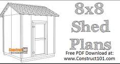 DIY 2x4 Storage Shelves - Free Plans - Construct101 Shed Plans 12x16, Lean To Shed Plans, Diy Storage Shed Plans, Coop Plans, Large Dog House Plans, Bird House Plans, Building A Storage Shed, Shed Building Plans, Simple Workbench Plans