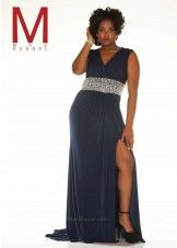 Mac Duggal 76766F Sleeveless V-Neck Jersey Plus Size Gown