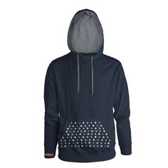 50% Cotton / 50% polyester pullover hooded sweatshirt with the Coldplay album cover symbols printed on the front pocket and a red 'Coldplay' logo strip printed on the right wrist.  Navy with a Grey hood liner and drawstrings.