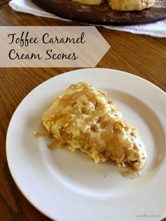 Cream scones with toffee bits and a caramel cream drizzle. Perfect to warm you up on a fall morning!