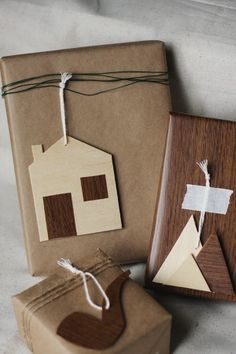DIY Wooden Gift Tags via The Sweetest Occasion. Love the little mountains and pipe!