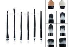 Modelos de explosão 6 preto make up brushes, Fibras do cabelo, Cabo de madeira, Multifuncional de alumínio maquiagem escova escovas alishoppbrasil
