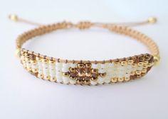 Mixed Beaded Macrame Bracelet Golden Tones by MaisJewelry on Etsy - Bracelets Jewelry Macrame Bracelet Patterns, Bead Loom Bracelets, Bead Loom Patterns, Macrame Bracelets, Jewelry Patterns, Jewelry Bracelets, Metal Beads, Loom Beading, Friendship Bracelets