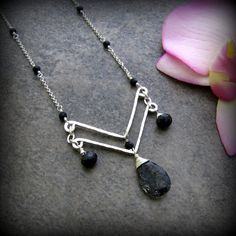 Black Tourmalinated Quartz Chevron Necklace by TheGemGypsy on Etsy, $95.00 - cool