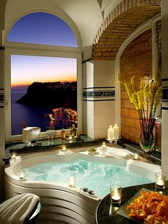 Abstract Hot Tub with Scenic Window View
