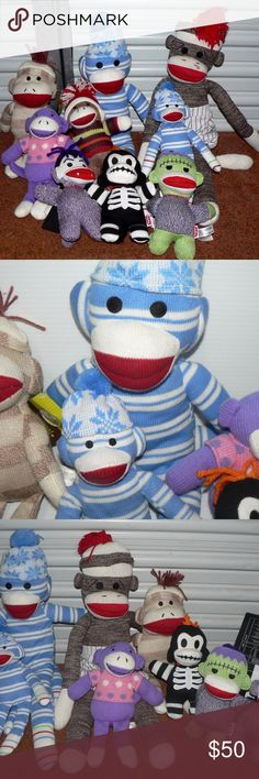 """9 Sock Monkey Dolls, Plush, Collectors! YOU GET ALL 9 ABSOLUTELY ADORABLE COLLECTOR SOCK MONKEY PLUSH DOLLS  3 are the Limited """"Gothic"""" Schylling Plushies/Dolls/Stuffies OMG cute! Skeleton ~ Frankenstein Monkey and Dracula! Each doll is 6 7/8"""" tall All new with tags The other 2 are BIG 14"""" Sock Monkey TOTALLY ADORABLE in MINT Condition! And  2 Other Sweet  9"""" Purple Sock Monkey!!! See All photos~ Assorted Other"""