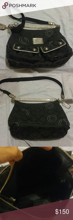 """Authentic Coach Black Purse Approx. Length 12"""" x width 13"""" x depth 5"""". Has 2 pockets on outside front and 3 pockets inside. Excellent condition. Strap is 35"""" which can be worn as a crossbody or shoulder bag. It also has a small handle. Slight fading on small silver handle. Sooo roomy yet not a huge purse. Coach Bags Shoulder Bags"""