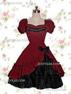 ... de Lolita-Rojo oscuro y negro de algodón vestidos de lolita gótica