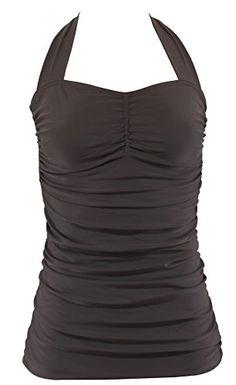 AlohaBeachwear Womens Vintage OnePiece halter Swimsuit Retro Uni Plain S  US 4  EU 36 Brown >>> Click image for more details.
