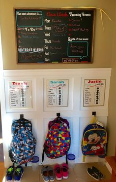 Our backpack station / command center designed by Home Sweet Signs NH. Heres to - Our backpack station / command center designed by Home Sweet Signs NH. Heres to Our backpack station / command center designed by Home Sweet Signs NH. Diy Organizer, Family Organizer, School Bag Storage, School Organization, Organization Ideas, Storage Ideas, Organization Station, Kids Storage, Toy Storage