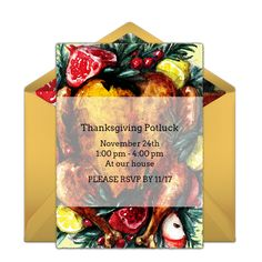Check out this festive invitation design that you can send online for free. Easily personalize and send to friends and family via email. We love this invite for a Thanksgiving feast or a Friendsgiving party.