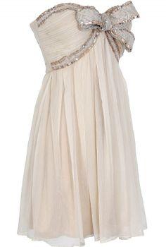 Sequin Bow Chiffon Dress// rehersal dinner