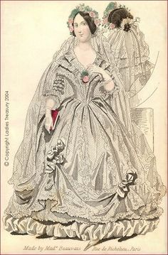 An 1840 Bridal Dress - The Ladies Treasury of Costume and Fashion Edwardian Fashion, Vintage Fashion, Vintage Dresses, Vintage Outfits, Wedding Dress Patterns, Wedding Dresses, Illustration Mode, Antique Illustration, 19th Century Fashion
