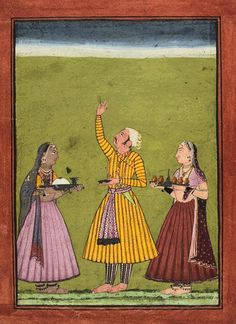"""Shri Raga Chandra.  Bilaspur - late 17th C.  Sri Raga is one of the 6 original """"male"""" musical modes, to be played early in the evening in winter. Chanda refers to the moon, the iconography of this painting is somewhat unusual as it seems to also implicate a meditation on the effect of the new moon."""