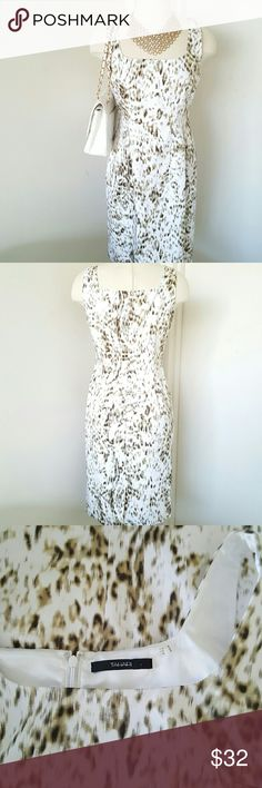 """Tahari Sleeveless  Leopard Printed Dress Feminine style dress great with jacket or simply cardigan, can be wear for work or any other occasion. Great condition like new.  Fully lined and back zip closure. Measurements are length 36"""" bust 38"""" waist 35"""" made of 98% cotton and 2% elastin Tahari Dresses"""