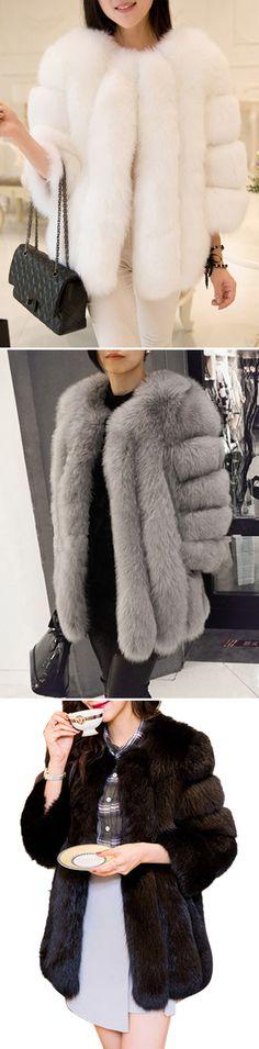 [Newchic Online Shopping] 46%OFF Casual Faux Fur Coats for Women
