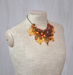 Original autumnal necklace with beads, flowers and ladybird, orange brown, for her, unique, Mother's Day gift, OOAK - pinned by pin4etsy.com