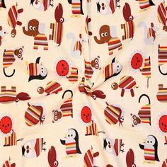 Baumwollstoff bedruckt Happy Animals Farbe Creme-Weiss 13825