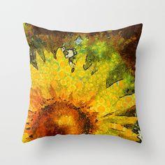 van Gogh styled sunflowers version 3 Throw Pillow by julietta Sewing Pillows, Diy Pillows, Custom Pillows, Decorative Pillows, Throw Pillows, Floral Pillows, Felt Pillow, Quilted Pillow, Fabric Painting