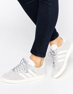 Image 1 of adidas Originals Grey Suede Gazelle Trainers