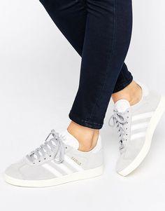 adidas+Originals+Grey+Suede+Gazelle+Trainers