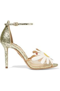 Charlotte Olympia - Margherite Appliquéd Mesh And Glittered Leather Sandals - Gold - IT