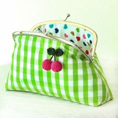 Checkered Coin Pouch in Green