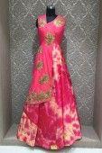 Pink Raw Silk Thread Work Floor Touch Readymade Gown