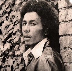 "Rare photo of BOB MARLEY used for the cover of the ""Reggae On Broadway"" music sheet, '71 © Ossie Hamilton"