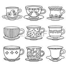 Taza de té, taza de café, platillos, establezca dibujo icono línea negro simple aislado en el fondo blanco del Doodle, ilustración de dibujos animados dibujo de estilo retro Vintage Bebidas - vector Foto de archivo