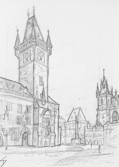 Urban art – Old Town Square, Prague, Czech Republic. 'View of Prague's historic Old Town Square.' Prague Czech Republic, Old Town Square, Mai, Urban Art, Art Blog, Barcelona Cathedral, Sketches, Gallery, Drawings