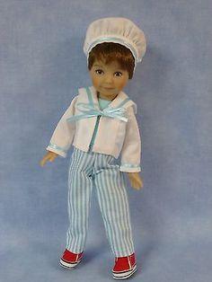 "Aqua Ahoy Sailor Outfit for Dianna Effner 8"" Heartstring Boy Doll by Apple"