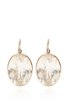One Of A Kind 12K Gold Earrings With Rutilated Quartz by Sandra Dini for Preorder on Moda Operandi
