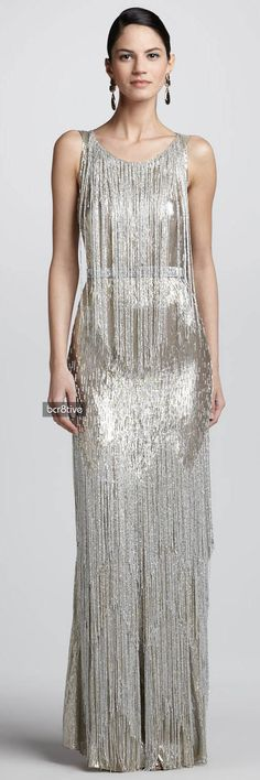 Crisdeco silver tone necklace idea : https://www.etsy.com/listing/247919407/statement-fringe-pearl-silver-necklace?ref=shop_home_active_23 Oscar de la Renta Bead-Fringe Sleeveless Column Gown