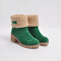0abe7b107b50 Female Winter Shoes Fur Warm Snow Boots Square Heels Ankle Boots Fur Boots
