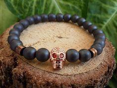 Mens Skull Head Bracelet,Gemstone Bracelet, Yoga Bracelets, Mala Beads, Reiki Matte Black & Gray Onyx Bracelets, Positive Energy Balance, by tovvanda on Etsy