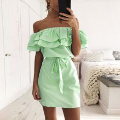 Valentine 's Day Leaf Sleeve Strapless Casual Beach Party Shirt Dress