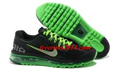 Mens Nike Air Max 2013 Black Green Silver Shoes    #Black  #Womens #Sneakers