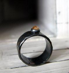 Rose Cut Yellow Diamond Ring Oxidized by HotRoxCustomJewelry, $209.00