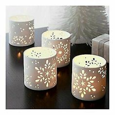 Snowflake candle holders - make with paper - .Snowflake candle holders – make with paper - Clay Candle Holders, Hurricane Candle Holders, Ceramic Pottery, Ceramic Art, Christmas Clay, Christmas Candles, White Christmas, Christmas Lights, Scandinavian Christmas