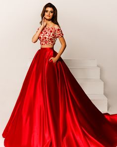 Red satin two 2 pieces flora prom dresses with short sleeves off the shoulder crop Fabulous Dresses, Pretty Dresses, Beautiful Dresses, Indian Gowns Dresses, Evening Dresses, Indian Designer Outfits, Designer Dresses, Lehenga Designs, Bridesmaid Dresses