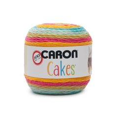 NEW Caron Cakes Rainbow Sherbet Yarn - one of 8 new colorways for 2017 plus free patterns featuring the original Caron Cakes colors Crochet For Kids, Easy Crochet, Free Crochet, Crochet Things, Crochet Baby, Caron Cakes Patterns, Crochet Patterns, Craft Patterns, Caron Cakes Crochet