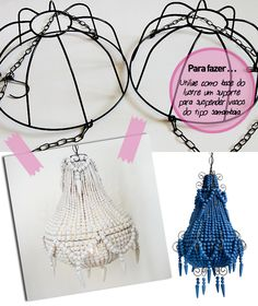 DIY paper vases – perfect for spring – Lighting Ideas Art Deco Chandelier, Beaded Chandelier, Home Crafts, Diy And Crafts, Diy Luminaire, Lampshades, Boho Decor, Diy Projects, Beads