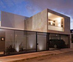 Fachadas de casas con rejas horizontales Minimalist Room, Minimalist Design, Mexico House, Modern Contemporary Homes, Fence Design, House Front, Building Design, Exterior Design, Modern Architecture