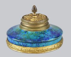 French Sevres Porcelain Inkwell with Dore Bronze Base and Top- Paul Millet #Sevres