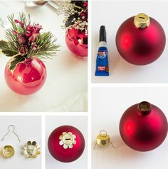 vase made of red christmas tree ball
